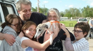 Family and pet reunited after Oaklawn tornado.