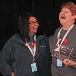 Highest Volunteer Training Classes - Shelly Marbut (left) Top Volunteer Service Hours - Janell Jessup (right)